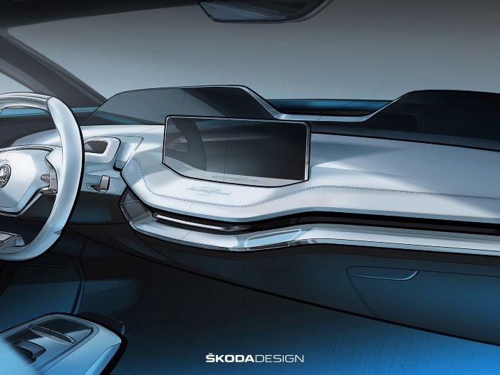 Armaturenbrett der Zukunft: Das Elektro-Konzeptauto VISION E von Skoda